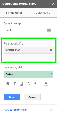 Format cells if Google Sheets